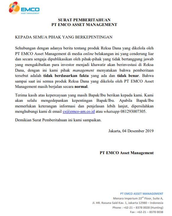 Surat Pemberitahuan PT Emco Asset Management